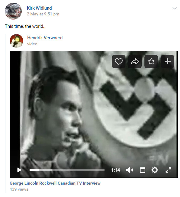 A VK post by Kirk Widlund of American Nazi Party founder George Lincoln Rockwell in front of a Nazi flag