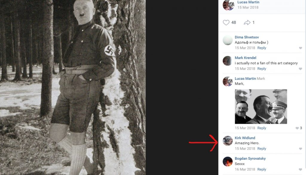 "A photo posted on VK of Adolph Hitler in the snow. Kirk Widlund is in the comments saying ""Amazing Hero."""