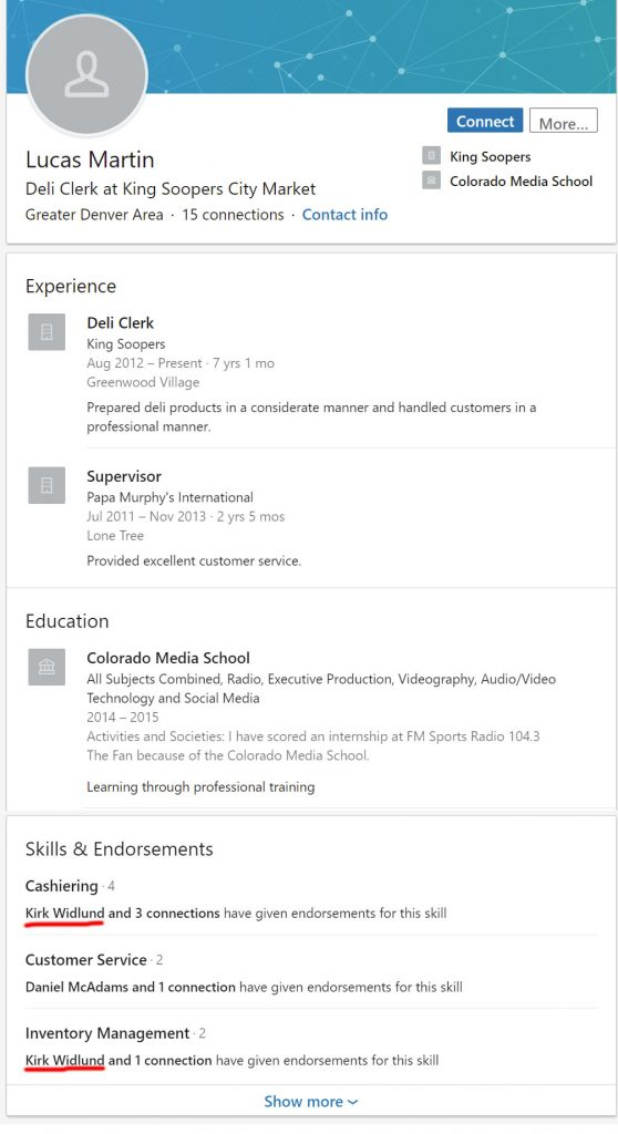 Lucas Martin's LinkIn resume, showing him having attended Colorado Media School and working at King soopers