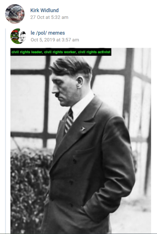 A VK post of a photo of Adolph Hitler by Kirk Widlund