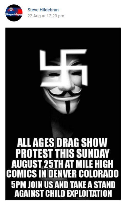A Flyer for the August Mile High Comics Protest featuring a swastika on top of a Guy Fawkes mask