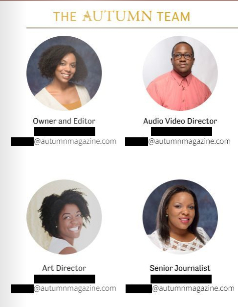Autumn Magazine's masthead, featuring four black writers