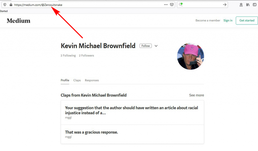 "Kevin Michael Brownfield's Medium account with url suffix ""Zerosuitsnake"" highlighted with an arrow"