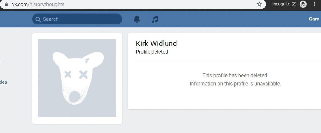 A screenshot of Kirk Widlund's deleted VK profile. The URL is VK.com/HistoryThoughts