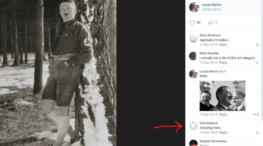 "A photo of Adolf Hitler posted by Lucas Martin on VK, with a comment by Kirk Widlund highlighted that reads ""Amazing Hero."""