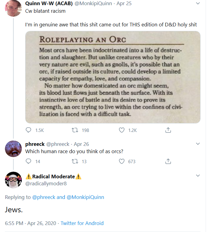 "A tweet from Radical Moderate's account calling Jews ""orcs"""